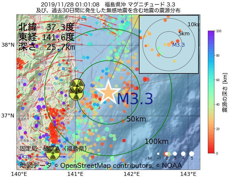 地震震源マップ:2019年11月28日 01時01分 福島県沖でM3.3の地震