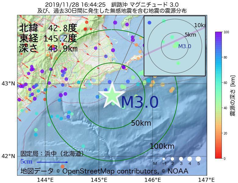 地震震源マップ:2019年11月28日 16時44分 釧路沖でM3.0の地震