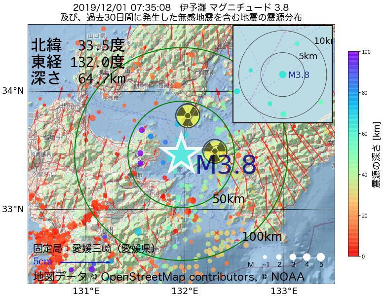 地震震源マップ:2019年12月01日 07時35分 伊予灘でM3.8の地震