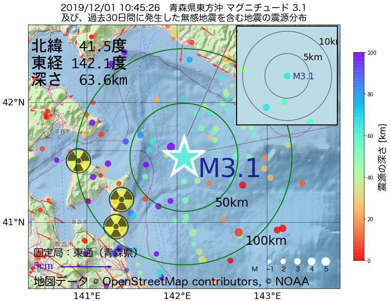 地震震源マップ:2019年12月01日 10時45分 青森県東方沖でM3.1の地震