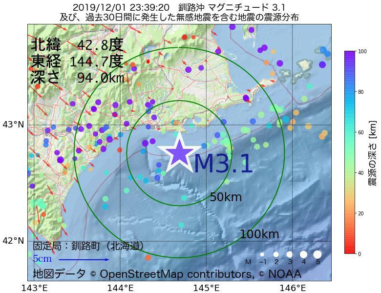 地震震源マップ:2019年12月01日 23時39分 釧路沖でM3.1の地震