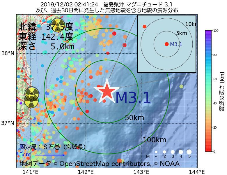 地震震源マップ:2019年12月02日 02時41分 福島県沖でM3.1の地震