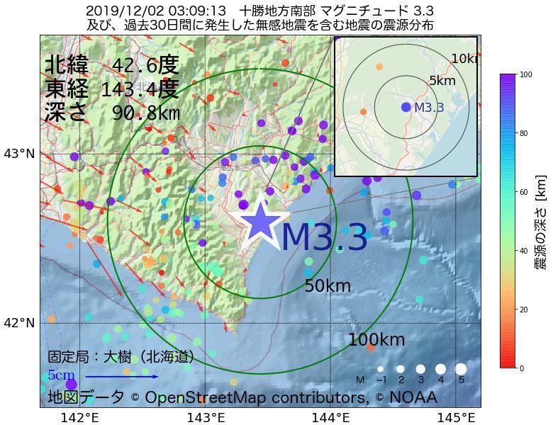 地震震源マップ:2019年12月02日 03時09分 十勝地方南部でM3.3の地震