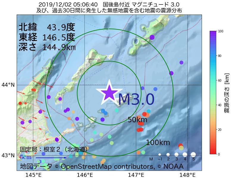 地震震源マップ:2019年12月02日 05時06分 国後島付近でM3.0の地震