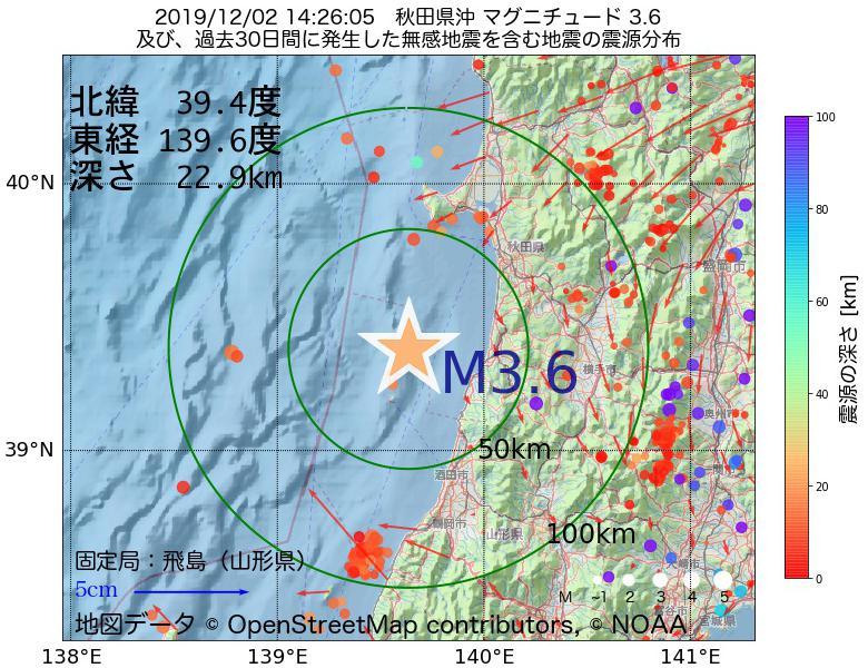 地震震源マップ:2019年12月02日 14時26分 秋田県沖でM3.6の地震