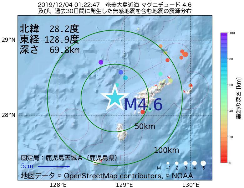 地震震源マップ:2019年12月04日 01時22分 奄美大島近海でM4.6の地震
