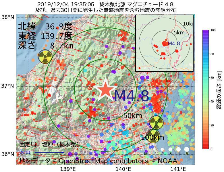 地震震源マップ:2019年12月04日 19時35分 栃木県北部でM4.8の地震