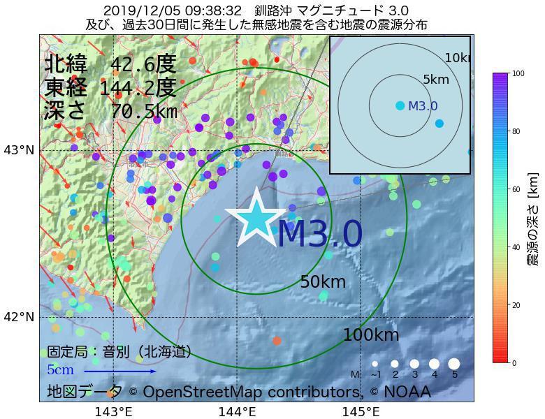 地震震源マップ:2019年12月05日 09時38分 釧路沖でM3.0の地震