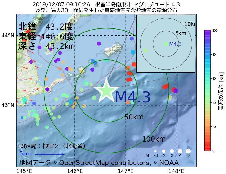 地震震源マップ:2019年12月07日 09時10分 根室半島南東沖でM4.3の地震
