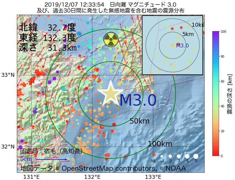 地震震源マップ:2019年12月07日 12時33分 日向灘でM3.0の地震
