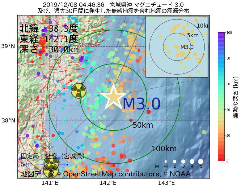 地震震源マップ:2019年12月08日 04時46分 宮城県沖でM3.0の地震