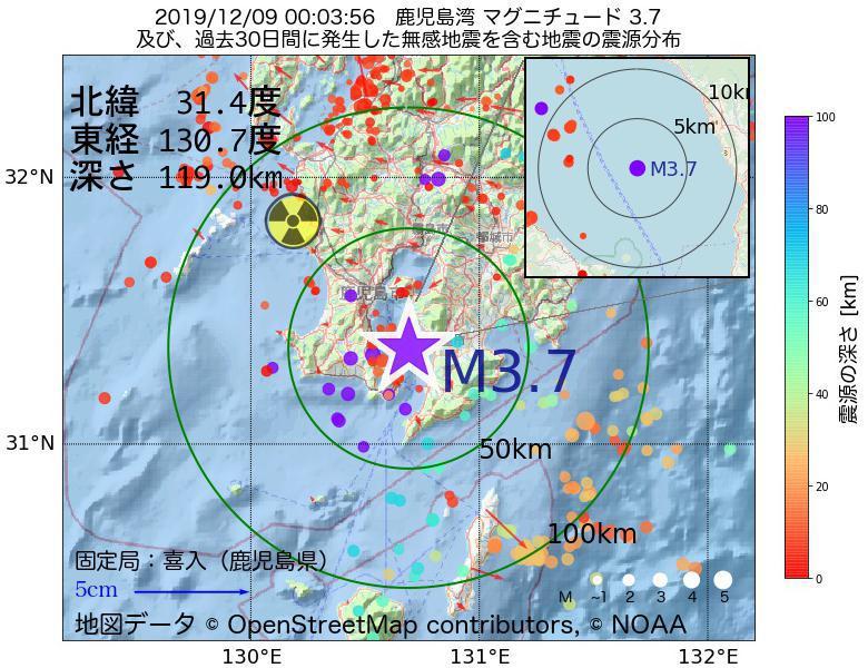 地震震源マップ:2019年12月09日 00時03分 鹿児島湾でM3.7の地震
