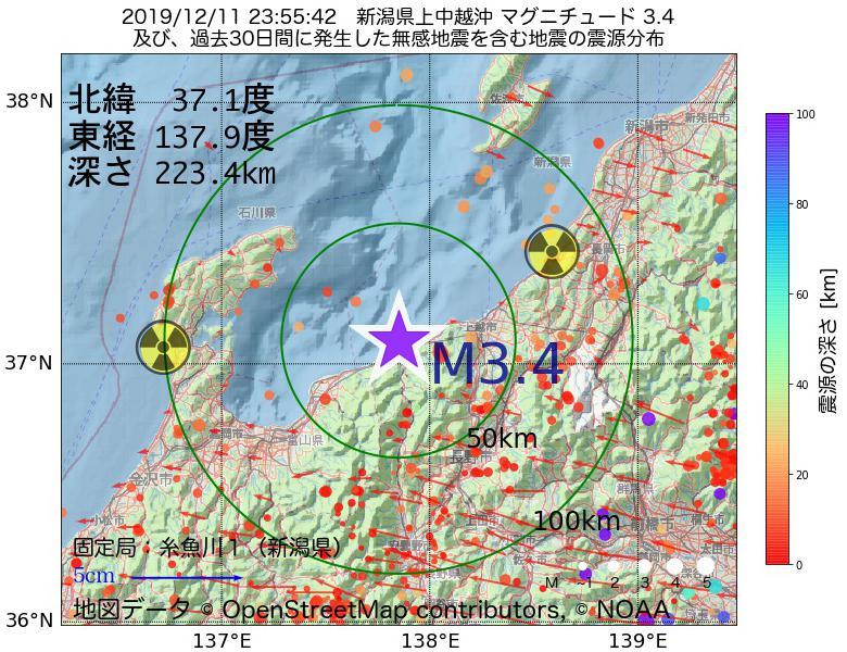 地震震源マップ:2019年12月11日 23時55分 新潟県上中越沖でM3.4の地震