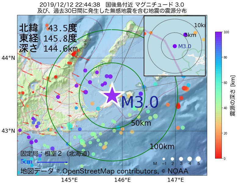 地震震源マップ:2019年12月12日 22時44分 国後島付近でM3.0の地震
