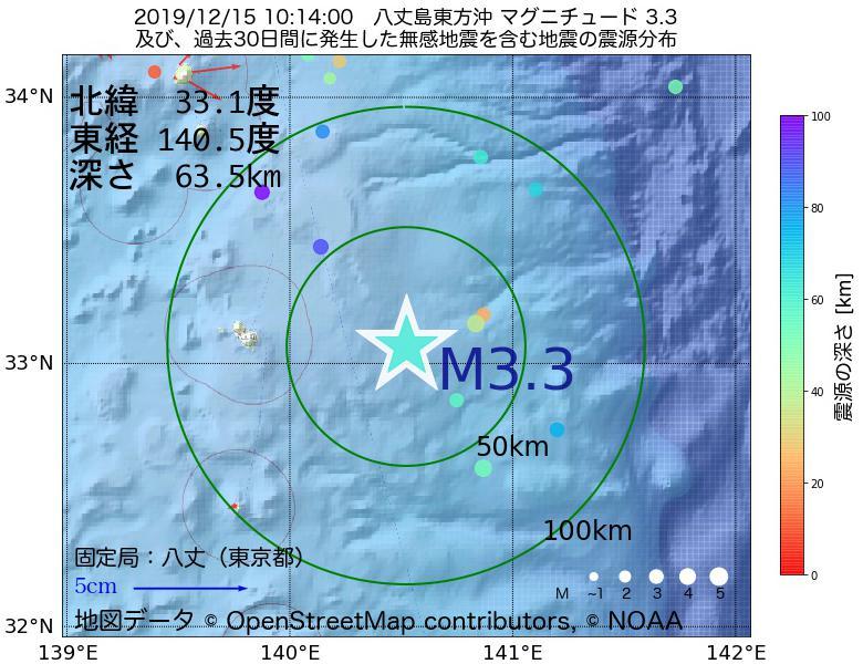 地震震源マップ:2019年12月15日 10時14分 八丈島東方沖でM3.3の地震