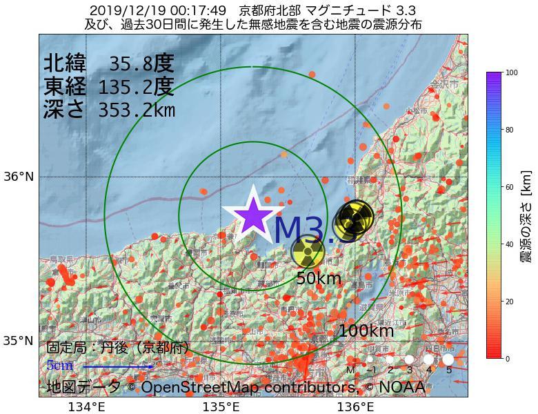 地震震源マップ:2019年12月19日 00時17分 京都府北部でM3.3の地震