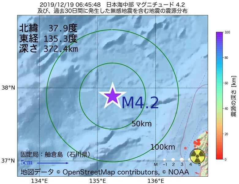 地震震源マップ:2019年12月19日 06時45分 日本海中部でM4.2の地震