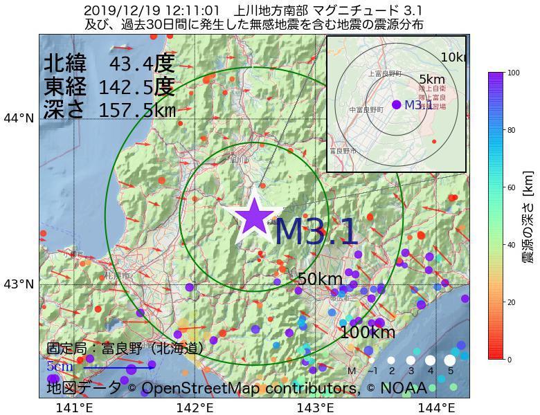 地震震源マップ:2019年12月19日 12時11分 上川地方南部でM3.1の地震