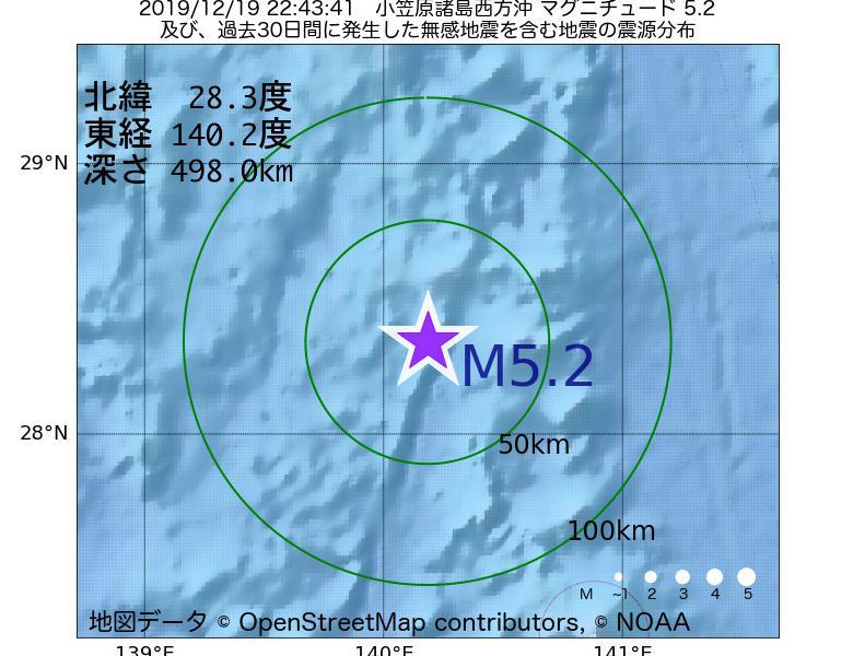 地震震源マップ:2019年12月19日 22時43分 小笠原諸島西方沖でM5.2の地震