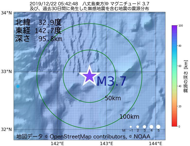 地震震源マップ:2019年12月22日 05時42分 八丈島東方沖でM3.7の地震