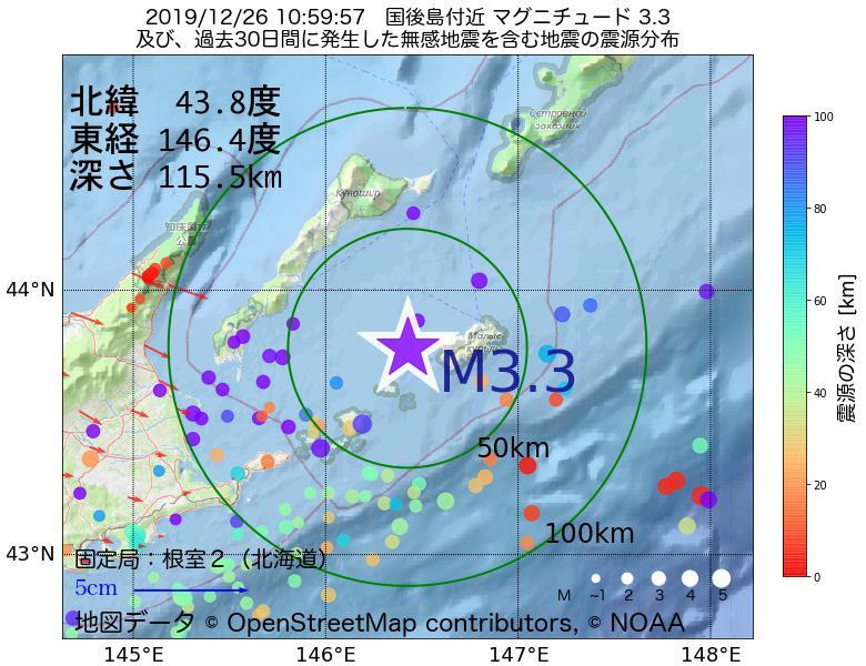 地震震源マップ:2019年12月26日 10時59分 国後島付近でM3.3の地震