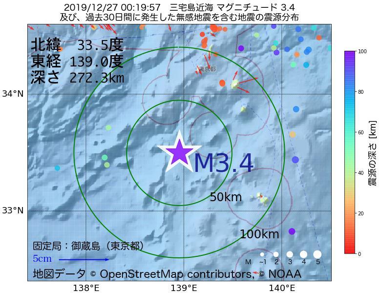 地震震源マップ:2019年12月27日 00時19分 三宅島近海でM3.4の地震