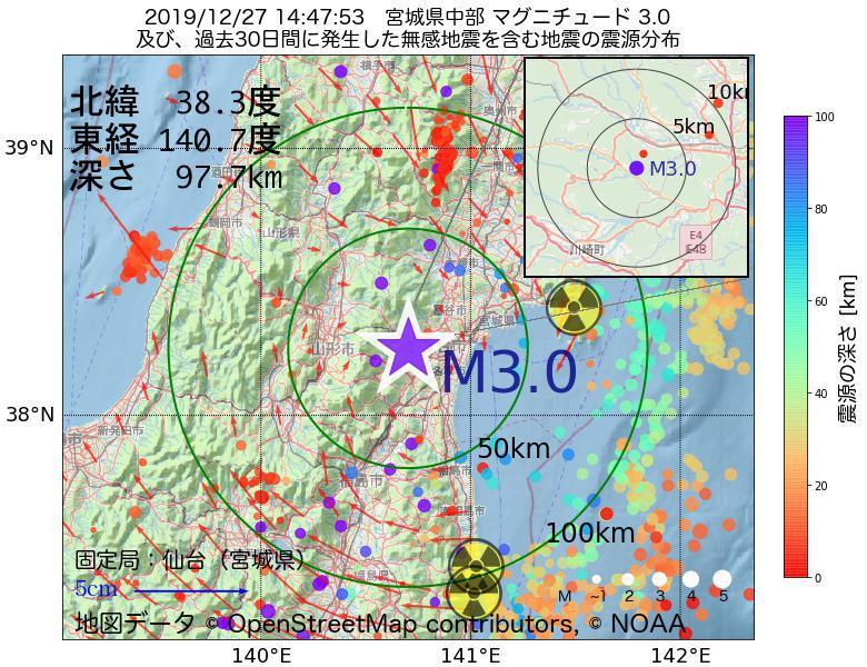 地震震源マップ:2019年12月27日 14時47分 宮城県中部でM3.0の地震