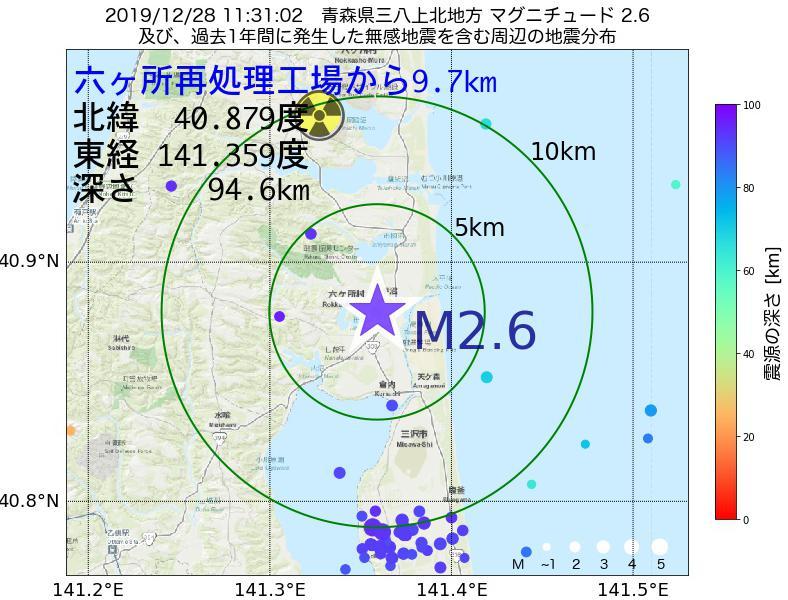 地震震源マップ:六ヶ所再処理工場から9.7km地点でM2.6の地震が発生しました