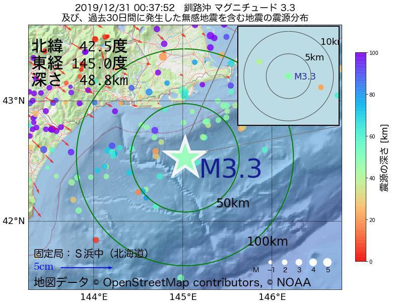 地震震源マップ:2019年12月31日 00時37分 釧路沖でM3.3の地震