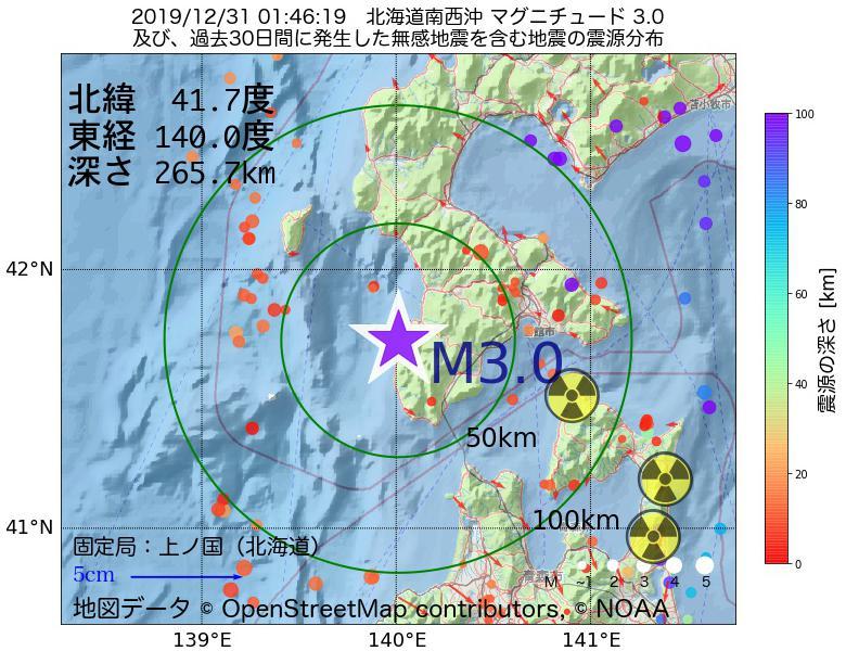 地震震源マップ:2019年12月31日 01時46分 北海道南西沖でM3.0の地震