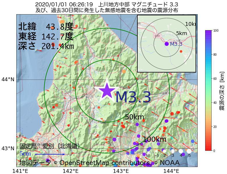 地震震源マップ:2020年01月01日 06時26分 上川地方中部でM3.3の地震