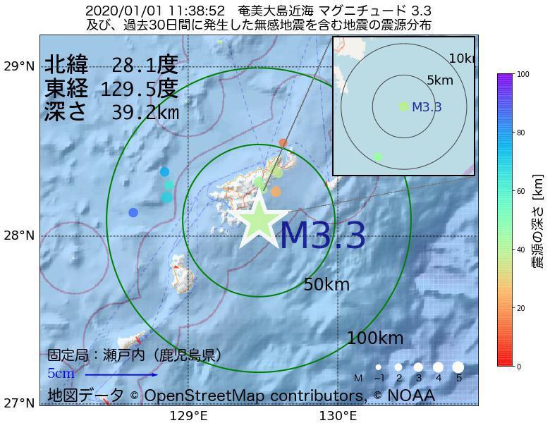 地震震源マップ:2020年01月01日 11時38分 奄美大島近海でM3.3の地震