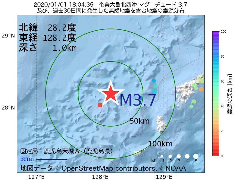 地震震源マップ:2020年01月01日 18時04分 奄美大島北西沖でM3.7の地震