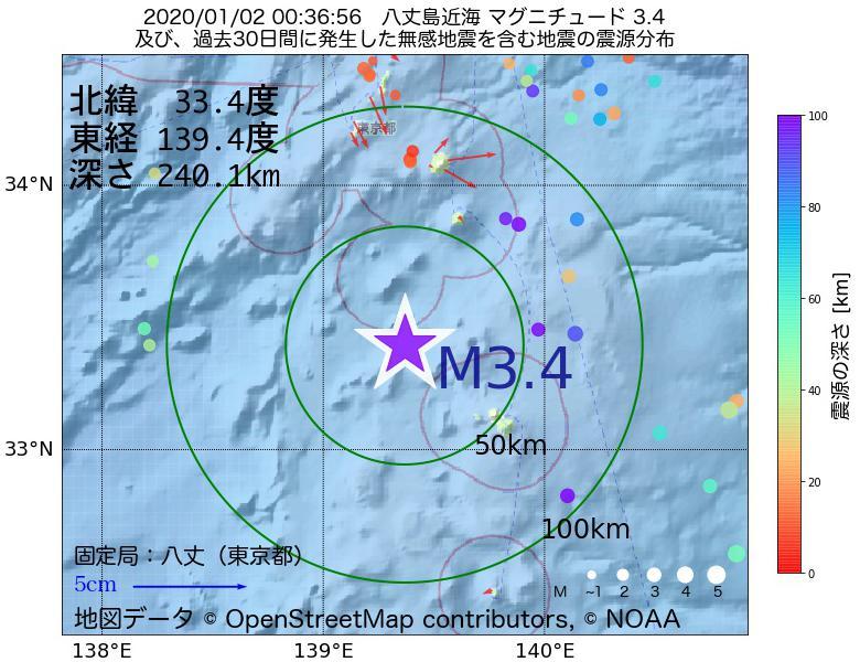 地震震源マップ:2020年01月02日 00時36分 八丈島近海でM3.4の地震