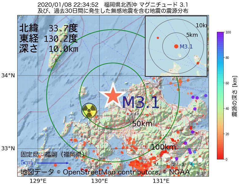 地震震源マップ:2020年01月08日 22時34分 福岡県北西沖でM3.1の地震