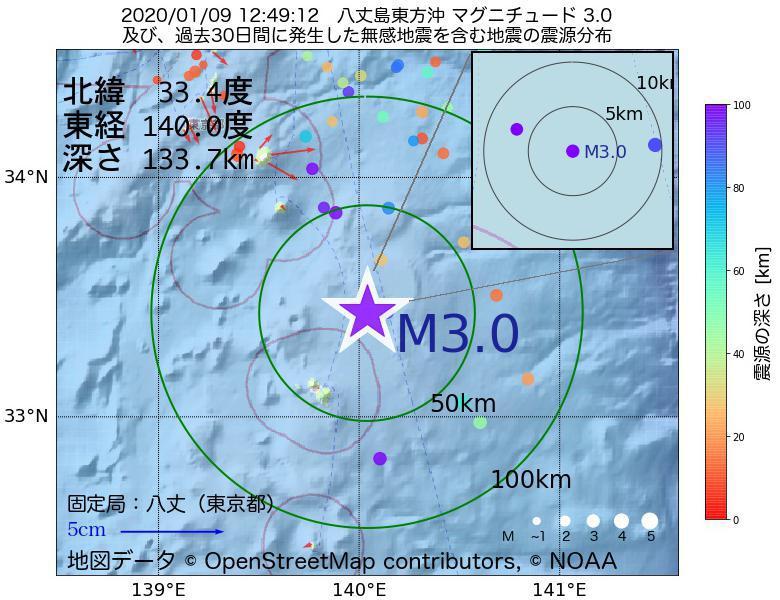 地震震源マップ:2020年01月09日 12時49分 八丈島東方沖でM3.0の地震