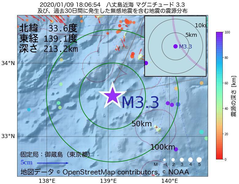 地震震源マップ:2020年01月09日 18時06分 八丈島近海でM3.3の地震