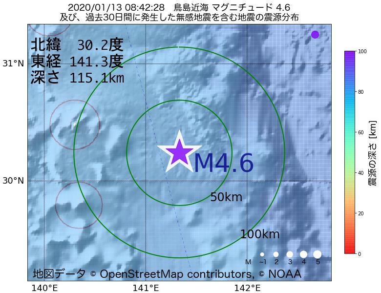 地震震源マップ:2020年01月13日 08時42分 鳥島近海でM4.6の地震
