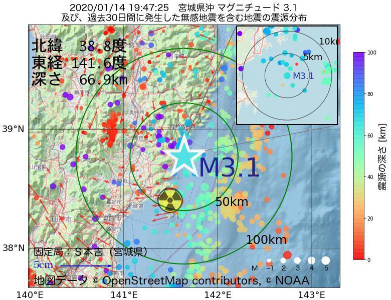 地震震源マップ:2020年01月14日 19時47分 宮城県沖でM3.1の地震