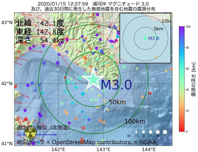 地震震源マップ:2020年01月15日 12時27分 浦河沖でM3.0の地震