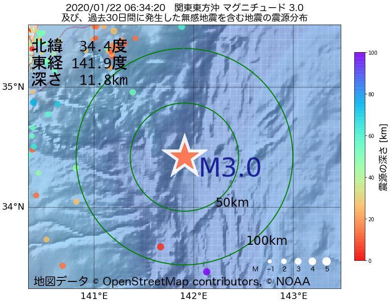 地震震源マップ:2020年01月22日 06時34分 関東東方沖でM3.0の地震