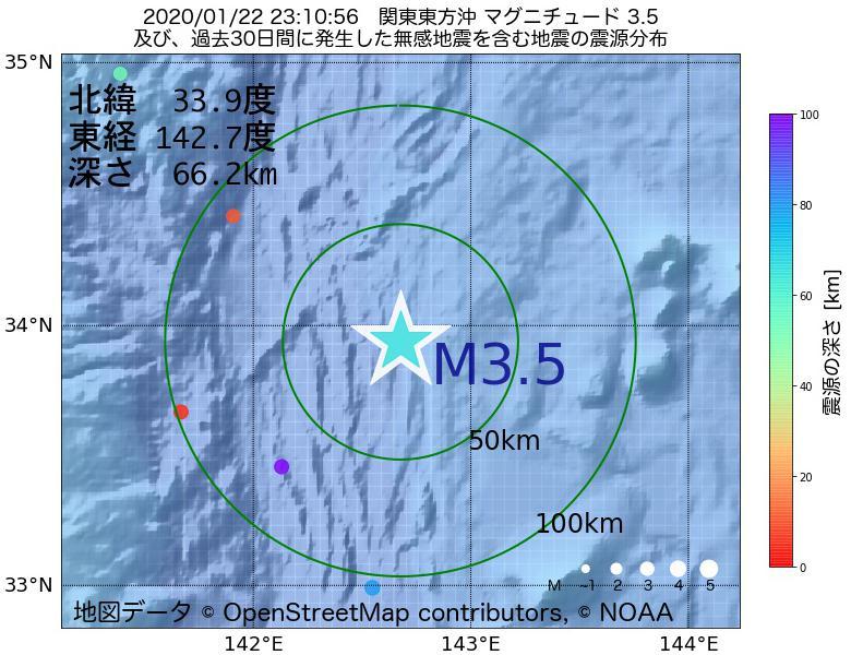 地震震源マップ:2020年01月22日 23時10分 関東東方沖でM3.5の地震