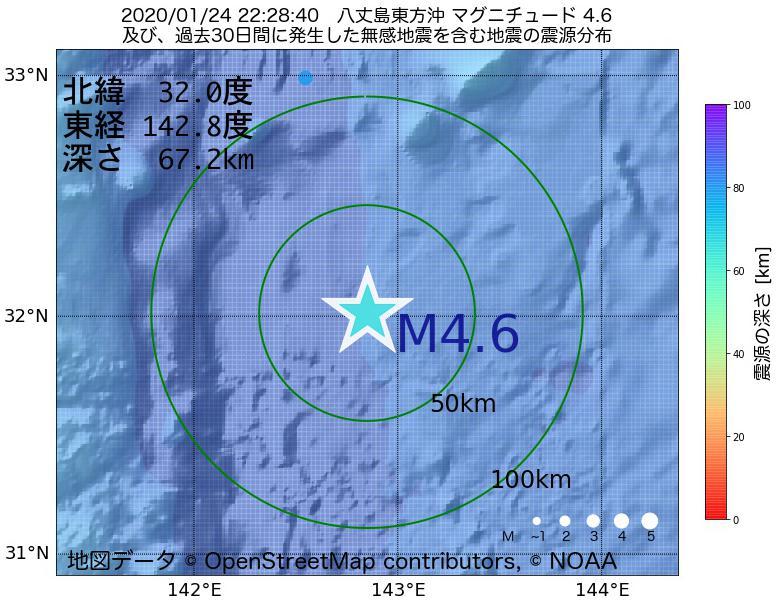地震震源マップ:2020年01月24日 22時28分 八丈島東方沖でM4.6の地震