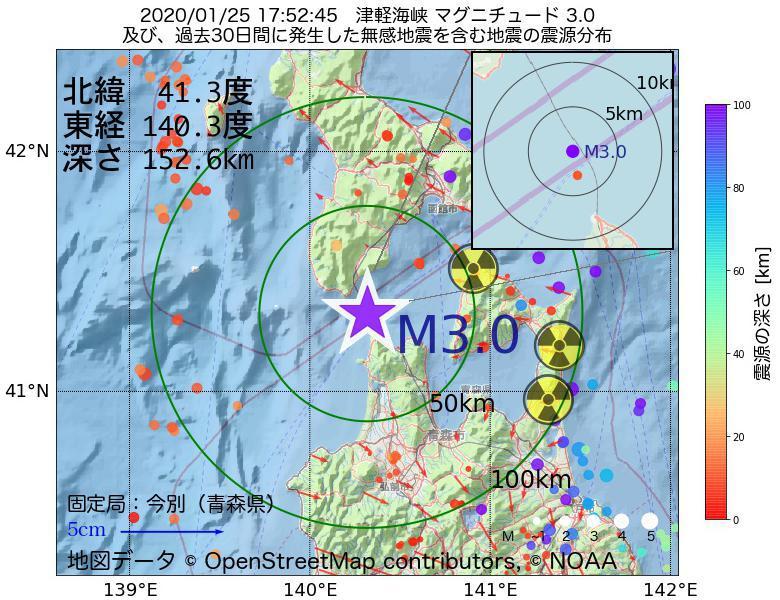 地震震源マップ:2020年01月25日 17時52分 津軽海峡でM3.0の地震