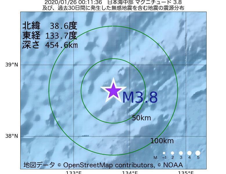 地震震源マップ:2020年01月26日 00時11分 日本海中部でM3.8の地震