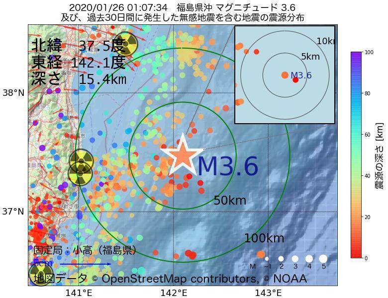 地震震源マップ:2020年01月26日 01時07分 福島県沖でM3.6の地震