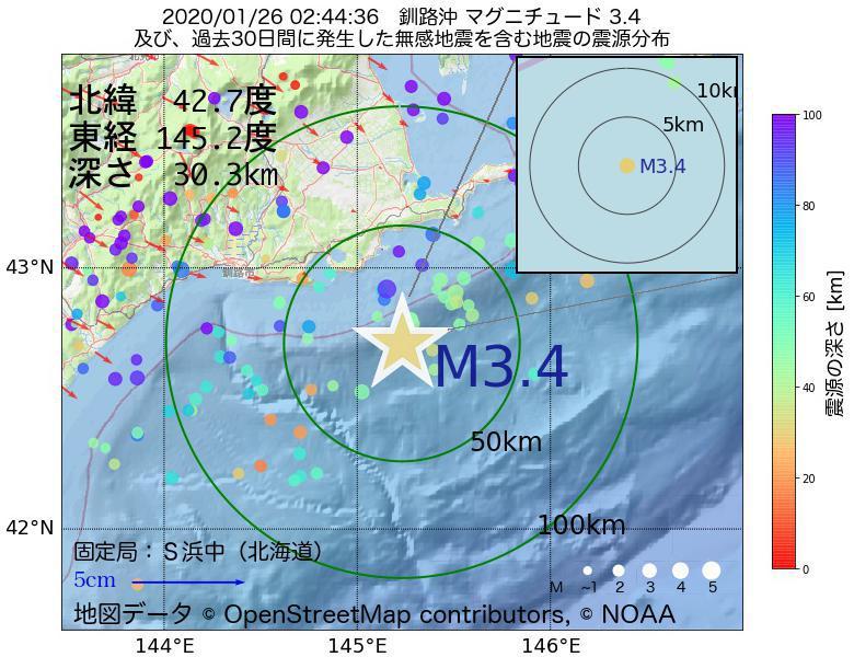地震震源マップ:2020年01月26日 02時44分 釧路沖でM3.4の地震