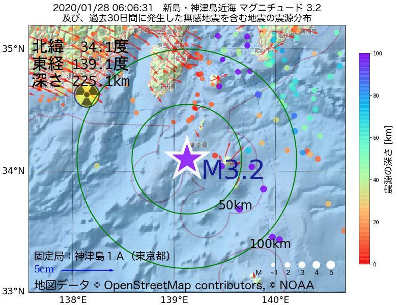 地震震源マップ:2020年01月28日 06時06分 新島・神津島近海でM3.2の地震