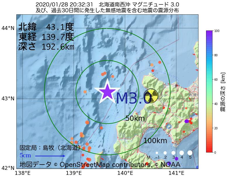 地震震源マップ:2020年01月28日 20時32分 北海道南西沖でM3.0の地震