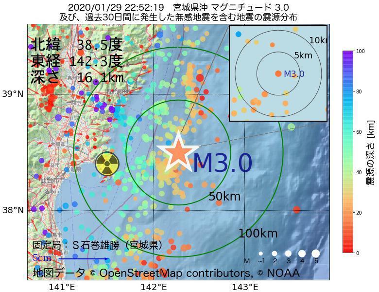 地震震源マップ:2020年01月29日 22時52分 宮城県沖でM3.0の地震